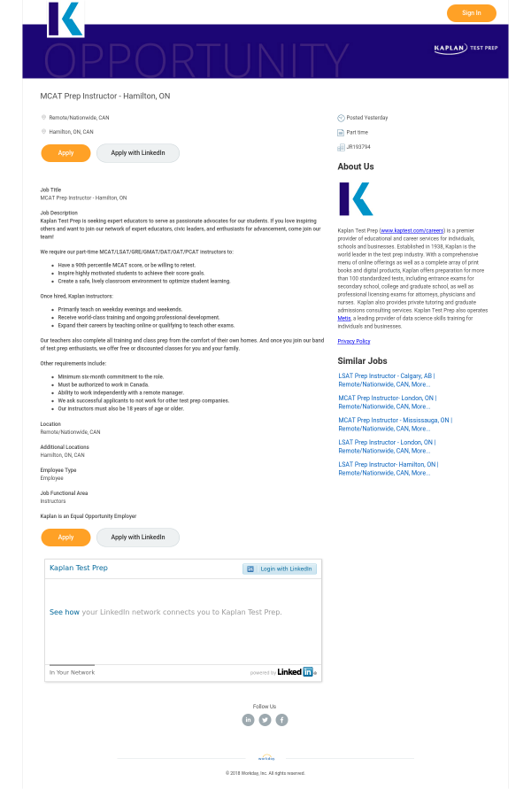 MCAT Prep Instructor job at Kaplan in United States
