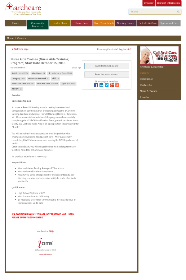 Nurse Aide Trainee Nurse Aide Training Program Start Date October