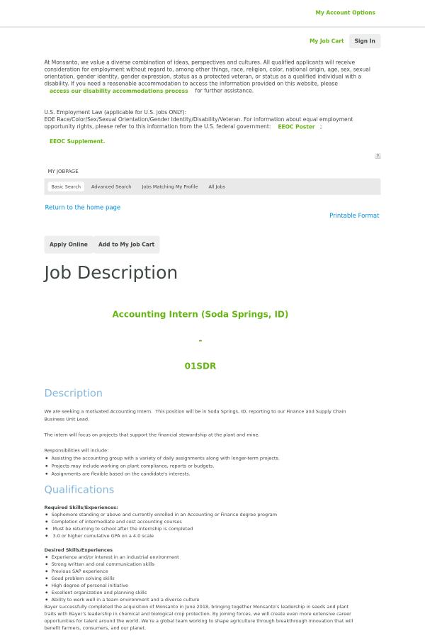 Accounting Intern (Soda Springs, ID) job at Monsanto Company in Soda ...