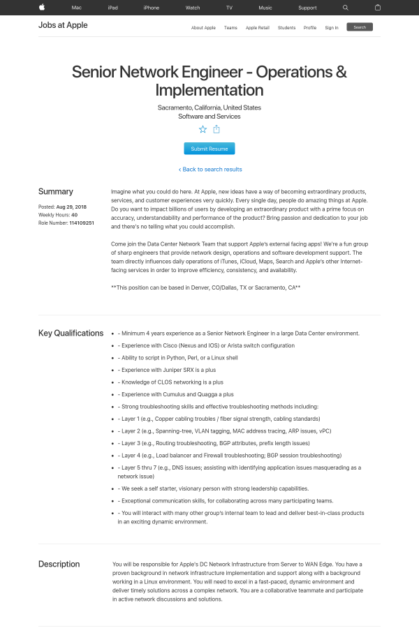 Operations & Implementation job at Apple in Sacramento, CA
