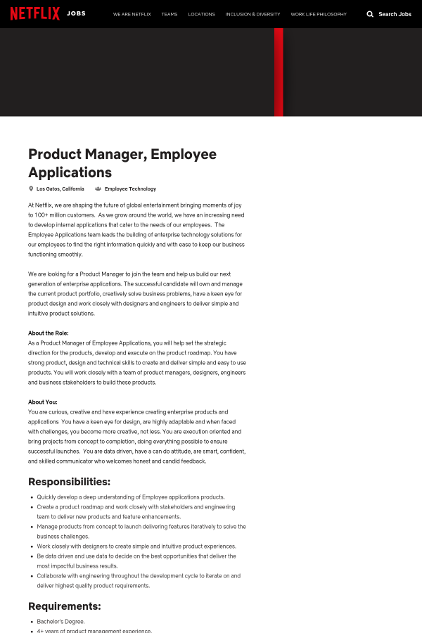 product manager employee applications job at netflix in los gatos