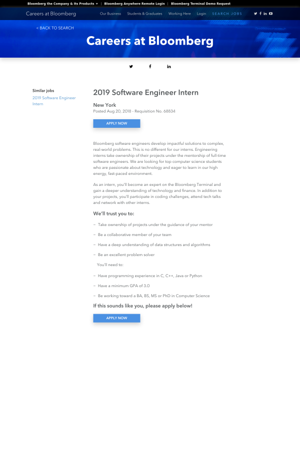 2019 Software Engineer Intern job at Bloomberg in New York