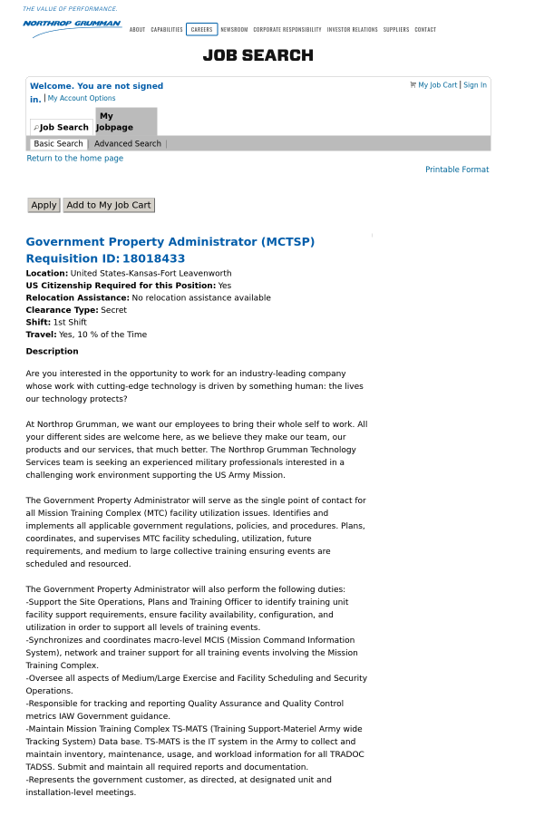 Government Property Administrator job at Northrop Grumman ...