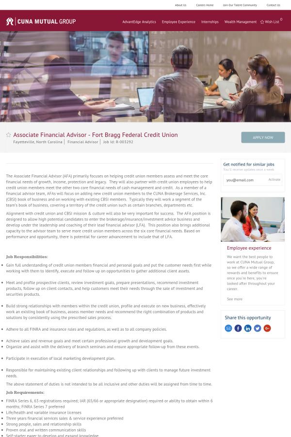 Associate Financial Advisor Fort Bragg Federal Credit Union Job At