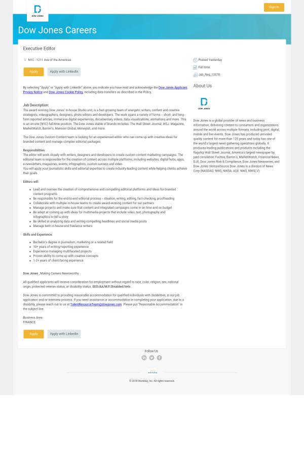 Executive Editor Job Description | Executive Editor Job At Dow Jones In New York City Ny 14119822