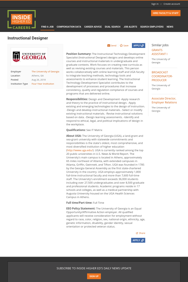 Instructional Designer Job At The University Of Georgia In Athens
