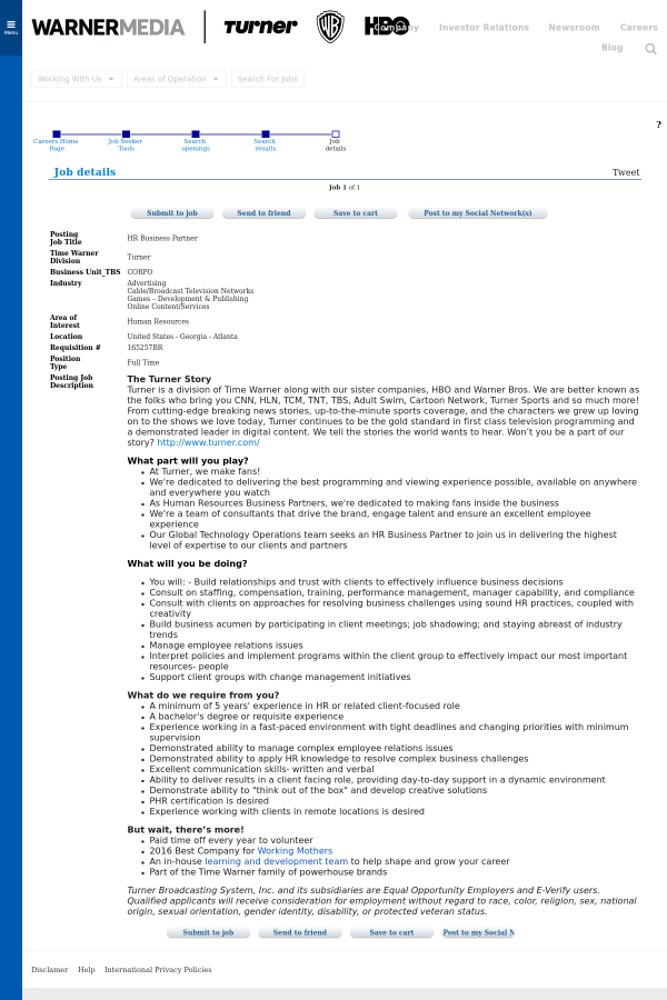 Hr Business Partner Job At Time Warner In Atlanta Ga 14125693