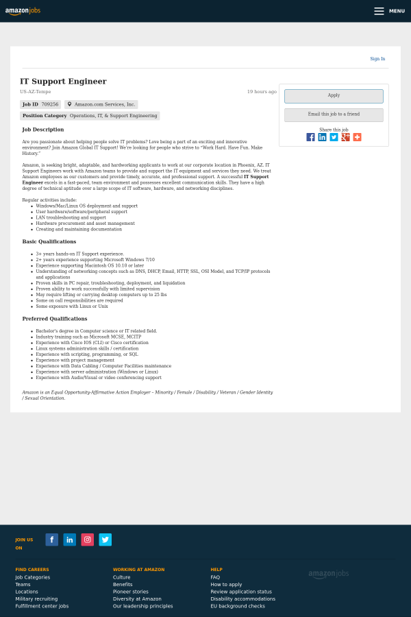 It Support Engineer Job At Amazon In Tempe Az 14127372 Tapwage