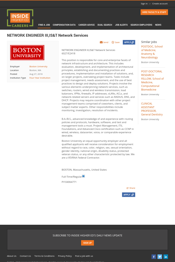 Network Engineer Iii Is T Network Services Job At Boston