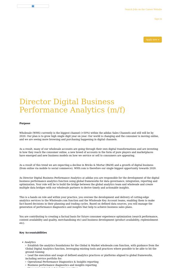 Director Digital Business Performance Analytics job at Adidas in ...
