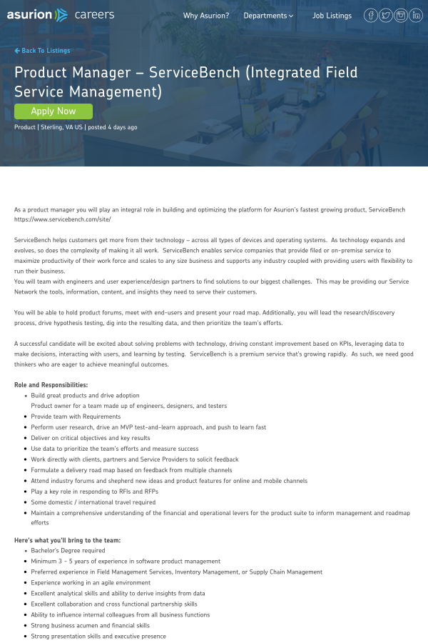 Product Manager - ServiceBench (Integrated Field Service