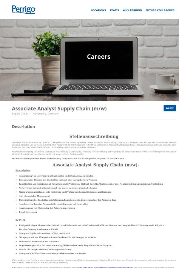 Associate Analyst Supply Chain (m/w) job at Perrigo Company in ...