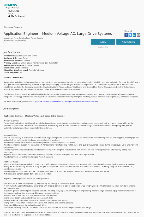 Application Engineer - Medium Voltage AC, Large Drive Systems job at ...