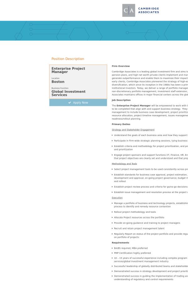Enterprise Project Manager Job At Cambridge Associates In Boston Ma
