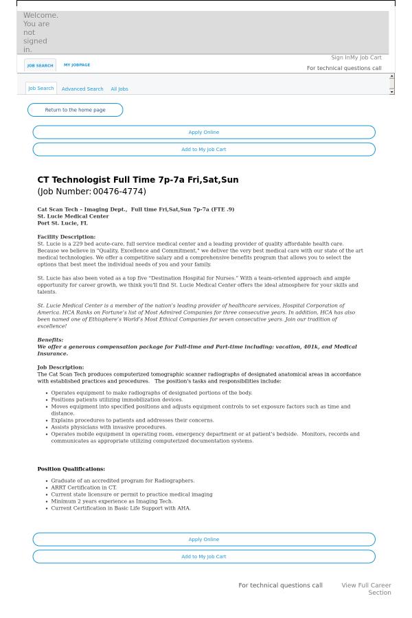 Ct Technologist 7p Job At Hca Holdings Inc In Port Saint Lucie Fl