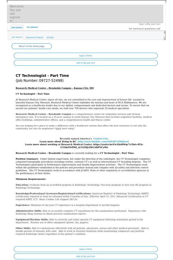 CT Technologist job at HCA Holdings, Inc  in Kansas City, MO