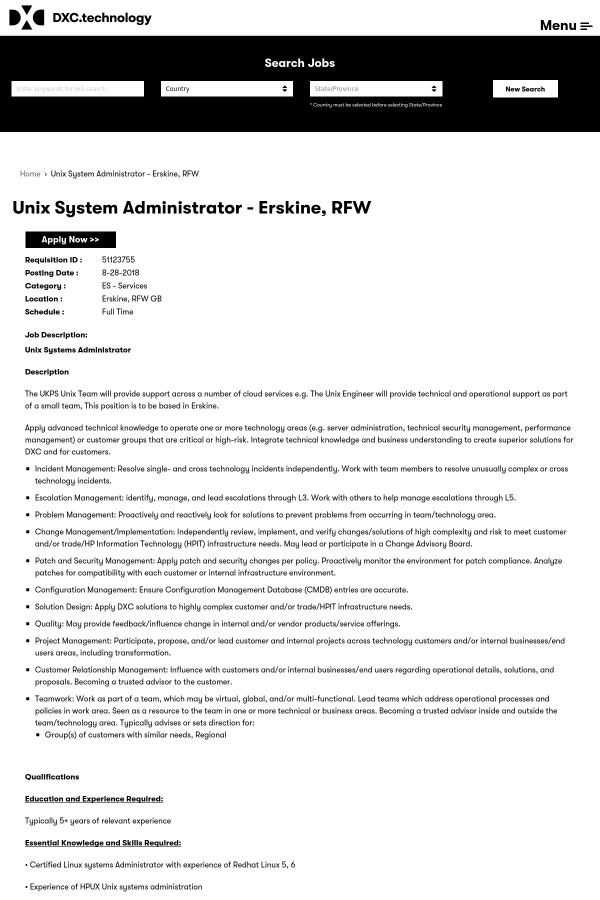 UNIX System Administrator job at DXC Technology in Erskine, United ...