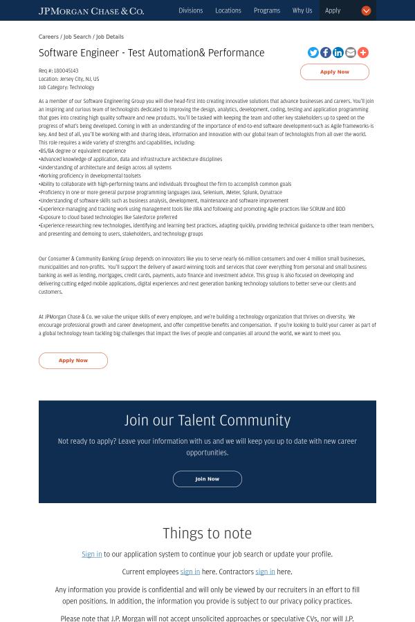 Software Engineer Test Automation Performance Job At Jpmorgan