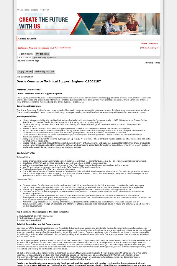 Oracle Commerce Technical Support Engineer job at Oracle in Colorado ...
