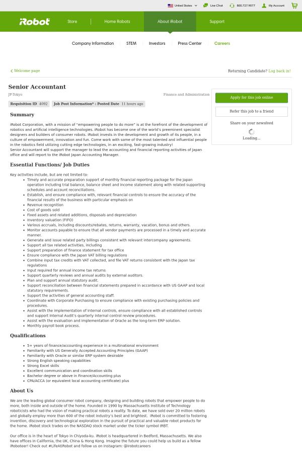 Senior Accountant Job At Irobot In Tokyo Japan 14175313 Tapwage