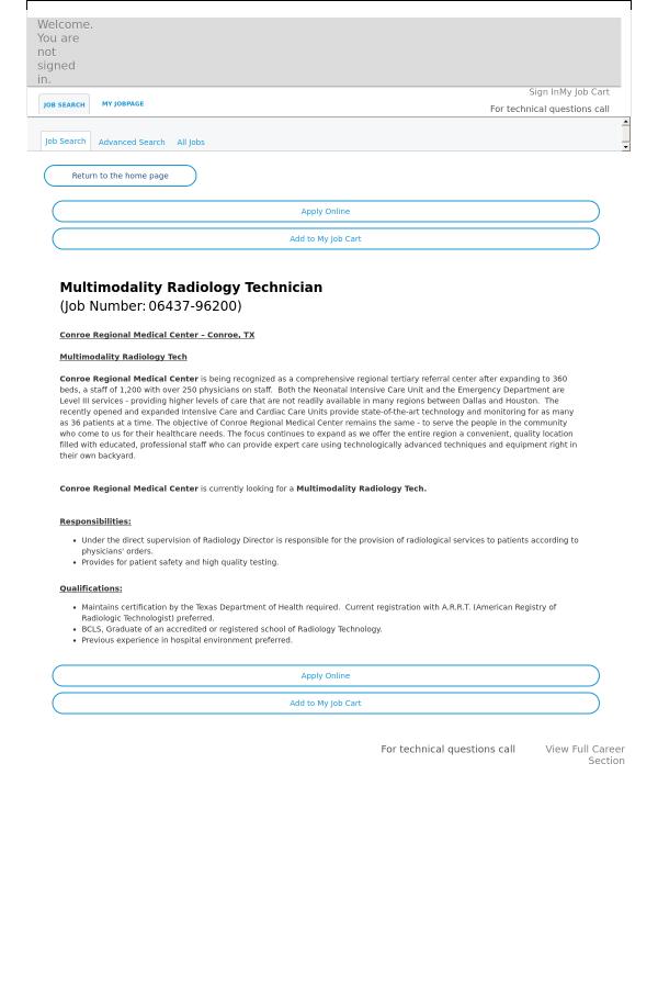 Multimodality Radiology Technician Job At Hca Holdings Inc In