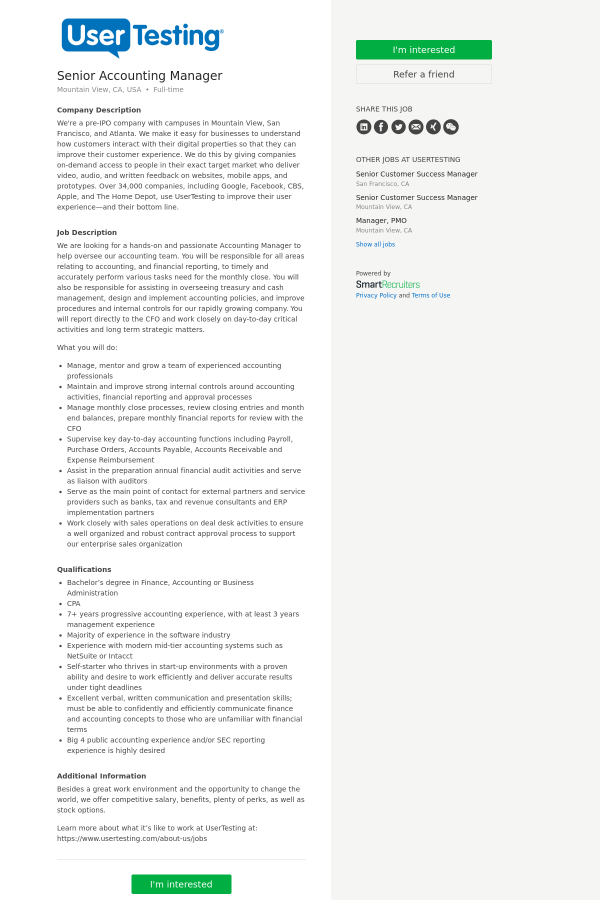 Senior Accounting Manager job at UserTesting in Mountain View, CA ...