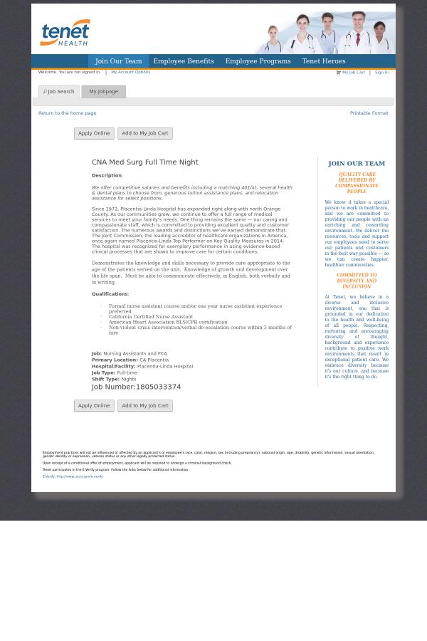 Cna Med Surg Night Job At Tenet Healthcare In Placentia Ca