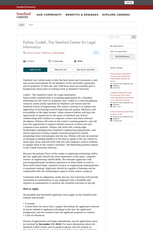 Fellow, CodeX, The Stanford Center for Legal Informatics job at ...