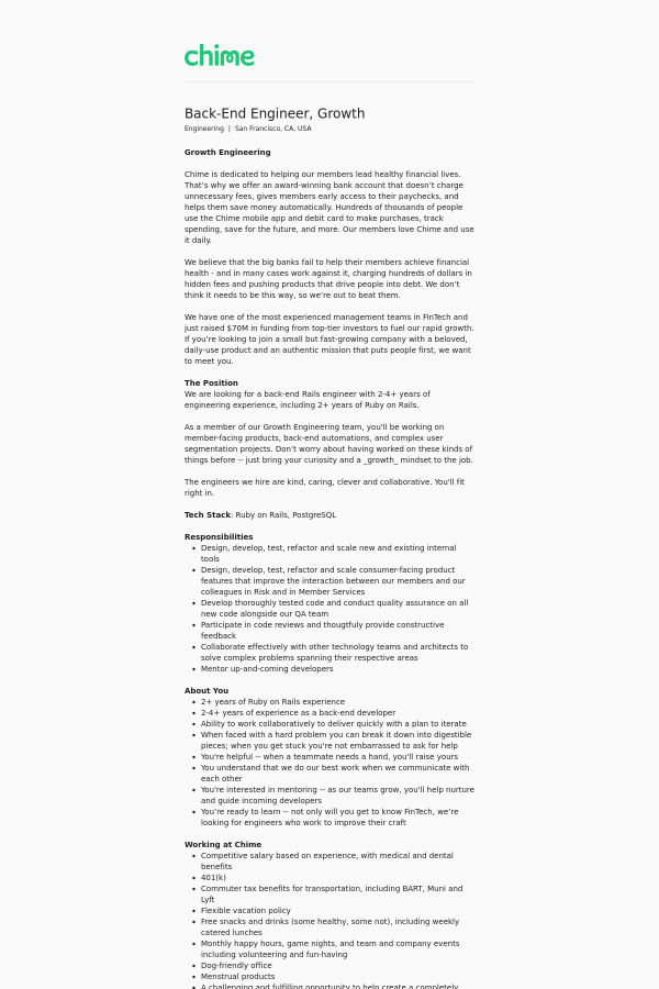 Back-End Engineer, Growth job at Chime in San Francisco, CA