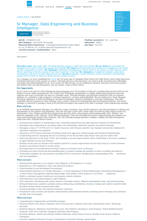 Senior Manager Data Engineering And Business Intelligence Job At