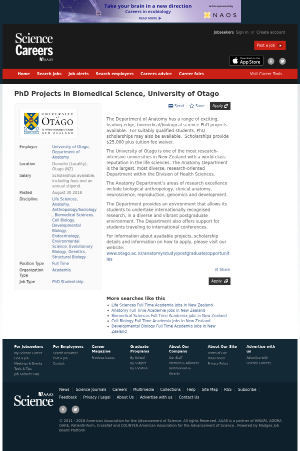 PhD Projects in Biomedical Science, University of Otago job at ...
