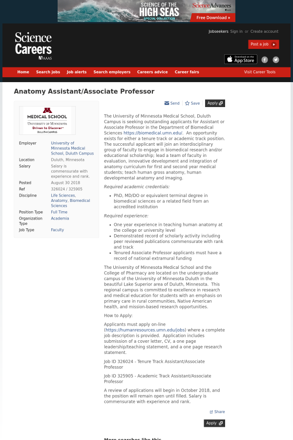 Anatomy Assistant / Associate Professor job at University of ...