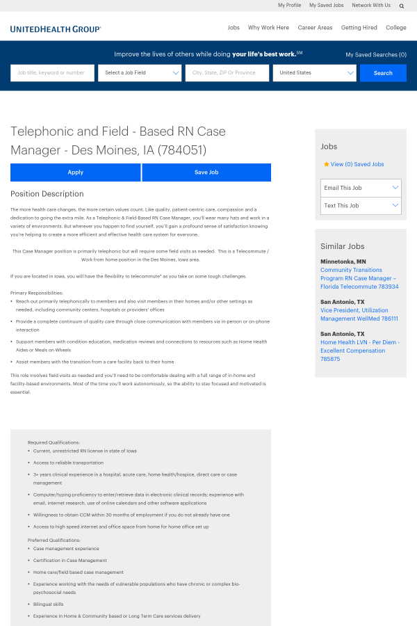 Telephonic And Field Based Registered Nurse Case Manager Job At
