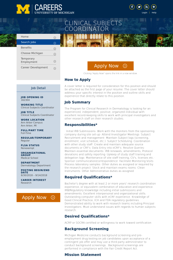 Clinical Subjects Coordinator Job At University Of Michigan In Ann