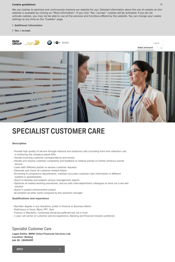 Specialist Customer Care job at BMW in Beijing, China
