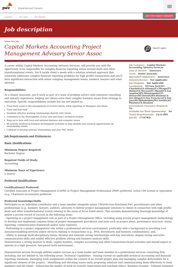 Capital Markets Accounting Project Management Advisory Senior