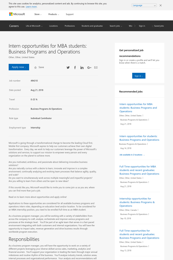 microsoft business internship - Madran kaptanband co