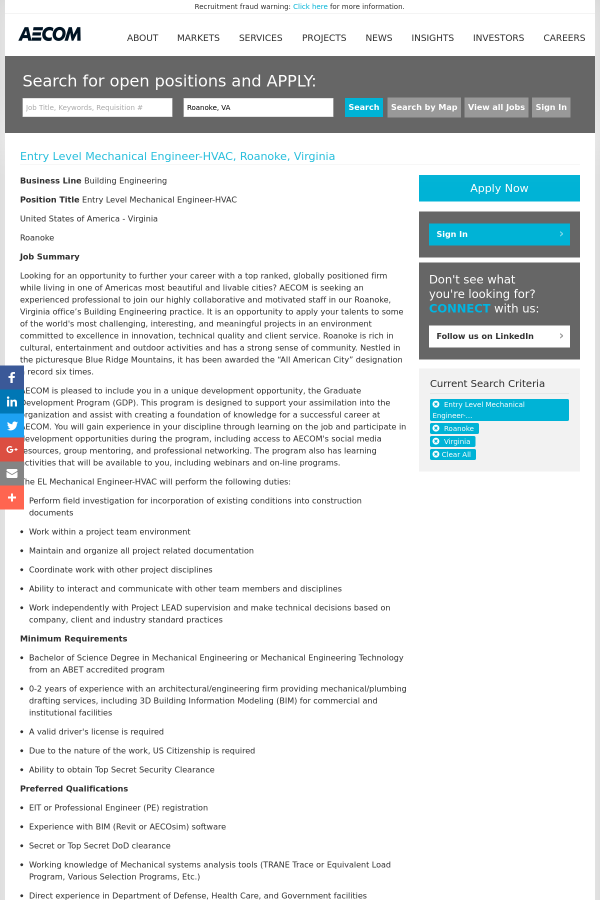 Entry Level Mechanical Engineer - HVAC job at AECOM Technology ...