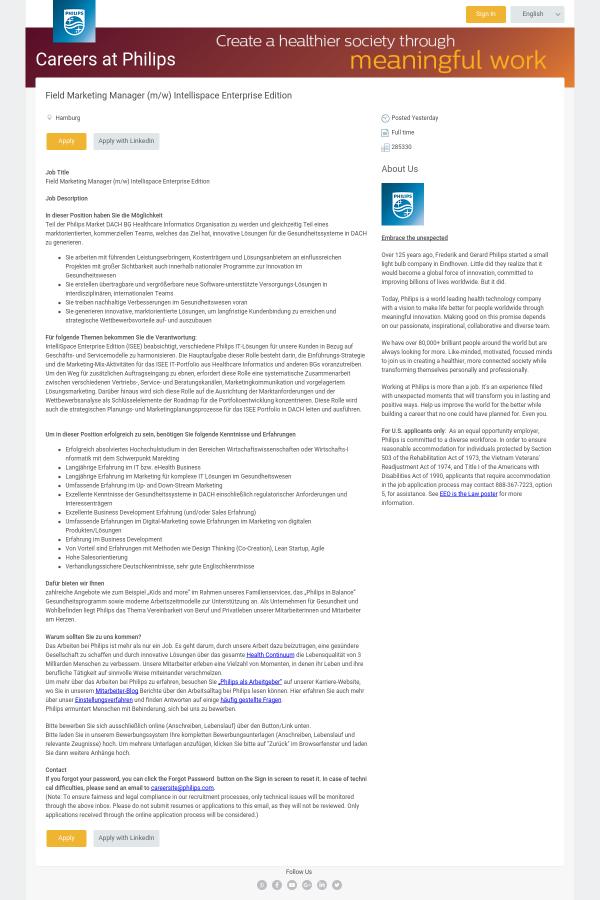 Field Marketing Manager (m/w) Intellispace Enterprise Edition job at ...