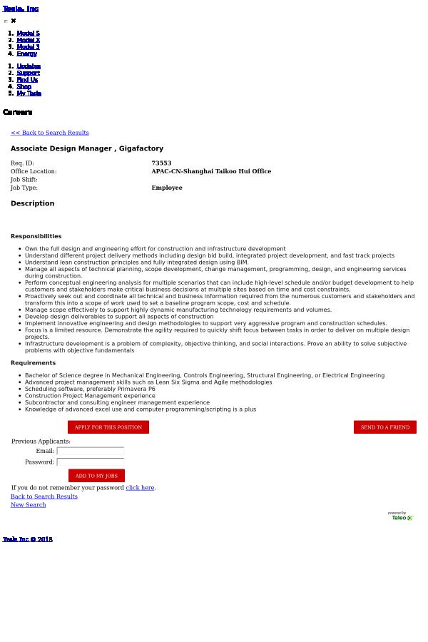 Associate Design Manager, Gigafactory job at Tesla in