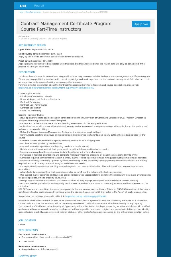 contract management certificate program course instructors job at ...