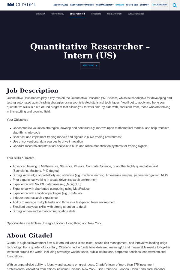 Quantitative Researcher - Intern (US) job at Citadel in