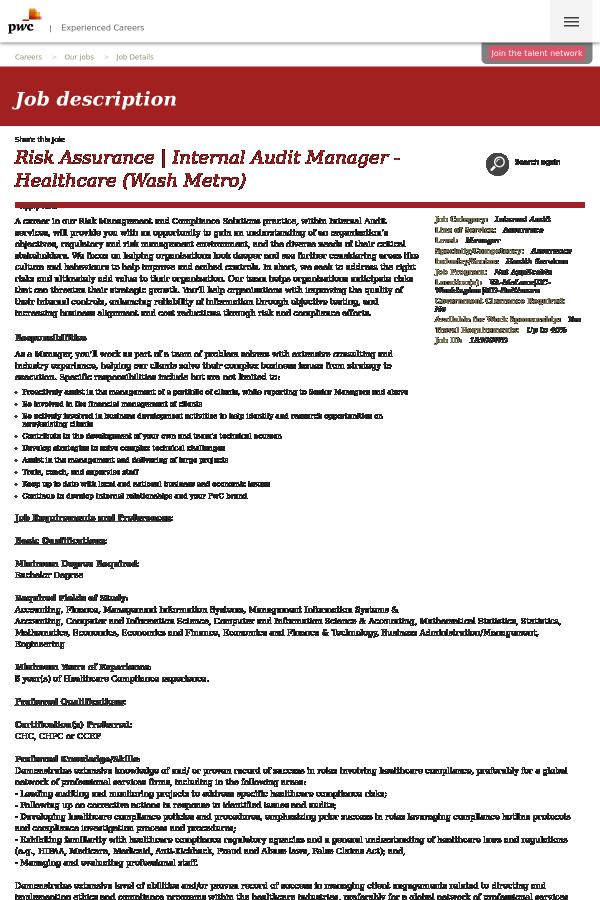 risk assurance, internal audit manager - healthcare (wash metro) job ...