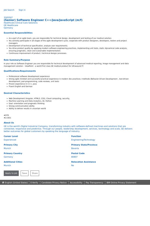 Software Engineer C++ / Java / JavaScript job at General