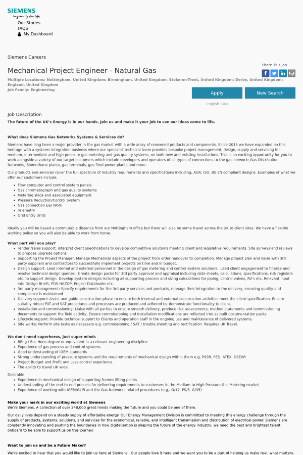 Mechanical Project Engineer   Natural Gas Job At Siemens In Stoke On ...