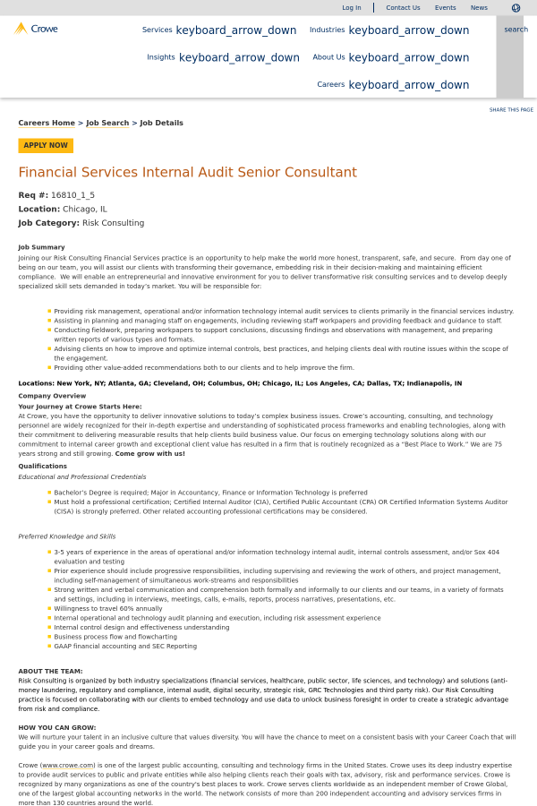 Financial Services Internal Audit Senior Consultant Job At Crowe