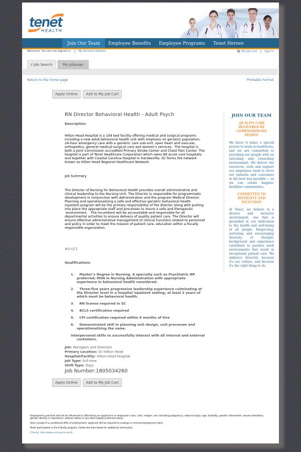 Registered Nurse Director Behavioral Health Adult Psych Job At