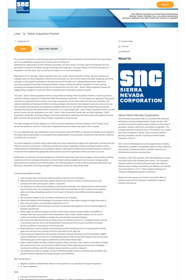 Lead - Senior Talent Acquisition Partner job at Sierra Nevada