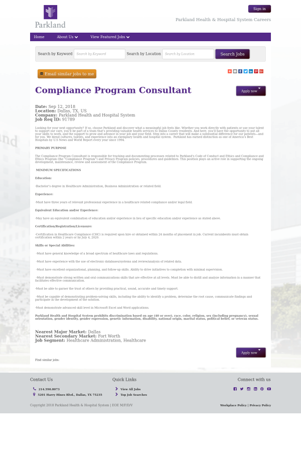 compliance program consultant job at parkland health & hospital ...