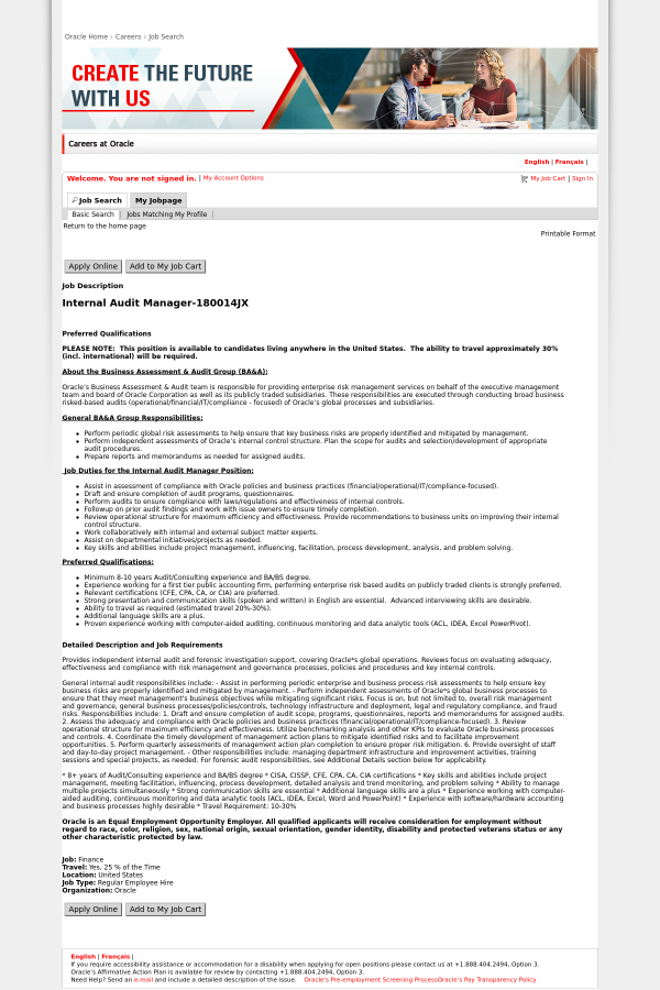 Internal Audit Manager job at Oracle in United States - 14430749 ...
